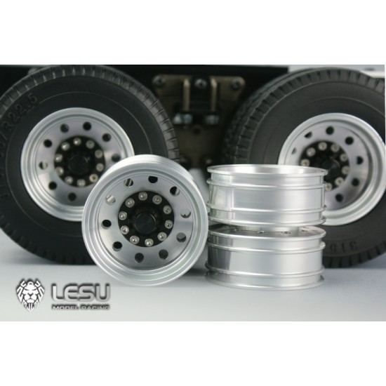Lesu 1:14 Metal truck rear drive twin wheels black hubs (pair)