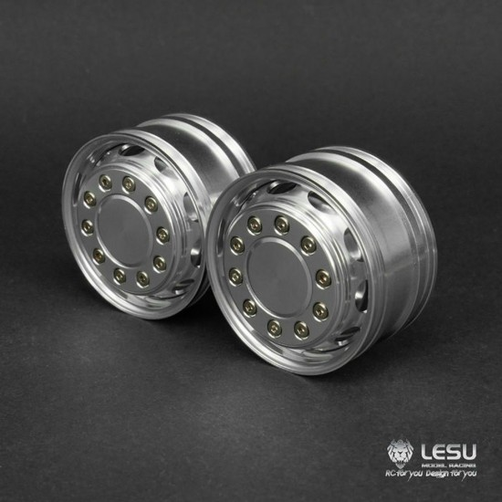 Lesu Pair of 1:14 super single 10 oval hole truck front wheels (hex)
