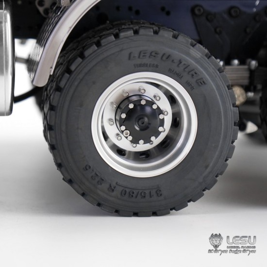 New style Lesu 1:14 Metal truck rear drive twin wheels black hubs (pair)