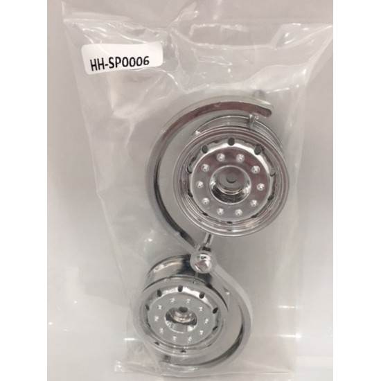 HH 1:14 pair of super single hex fitting plastic trailer wheels