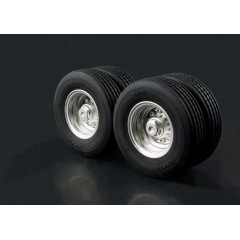 Lesu 1:14 metal low loader twin trailer wheels and tyres (pair)