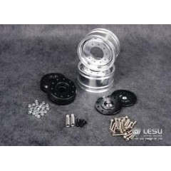 Lesu 1:14 metal new style super single black centre truck front wheels (pair) for Lesu axles option 2